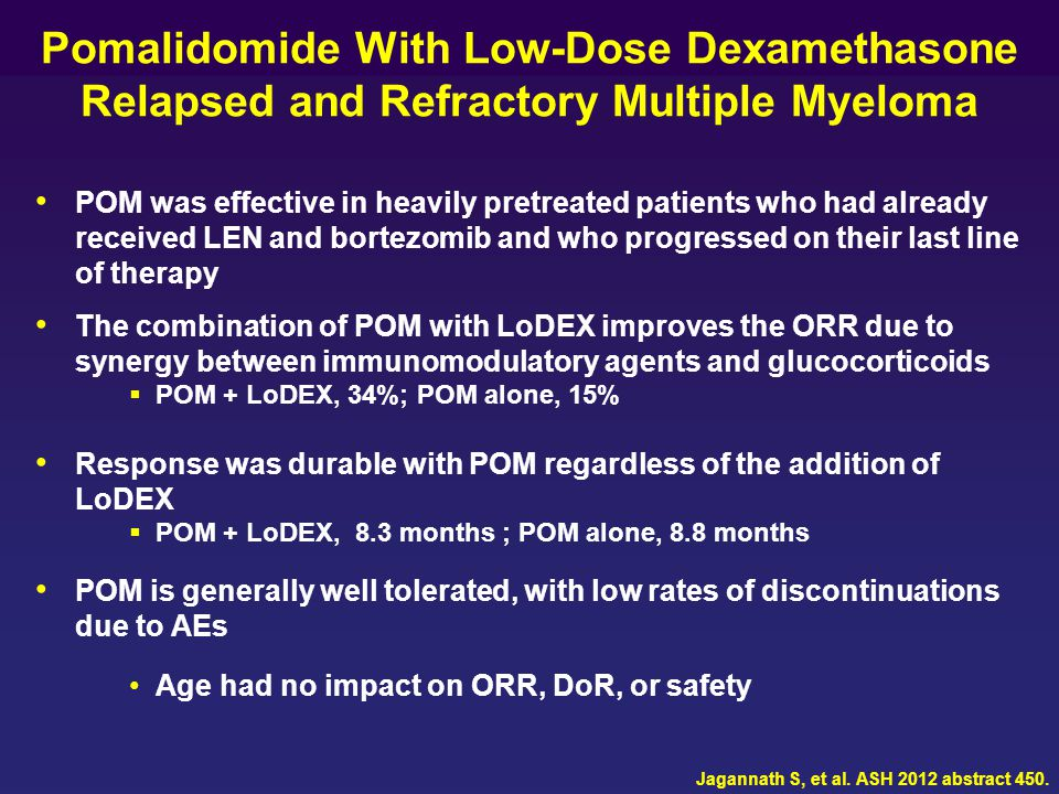 Pomalidomide With Low-Dose Dexamethasone Relapsed and Refractory Multiple Myeloma POM was effective in heavily pretreated patients who had already rec