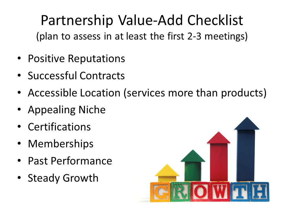 Tools for Successful Partnering Social Media – join special groups looking for the same kind of business opportunities Subcontracting Registry Sources- – Most Federal Agencies have an updated directory – Many large business have registration for their directory Prime Contractor list – Most Federal Agencies have an updated directory