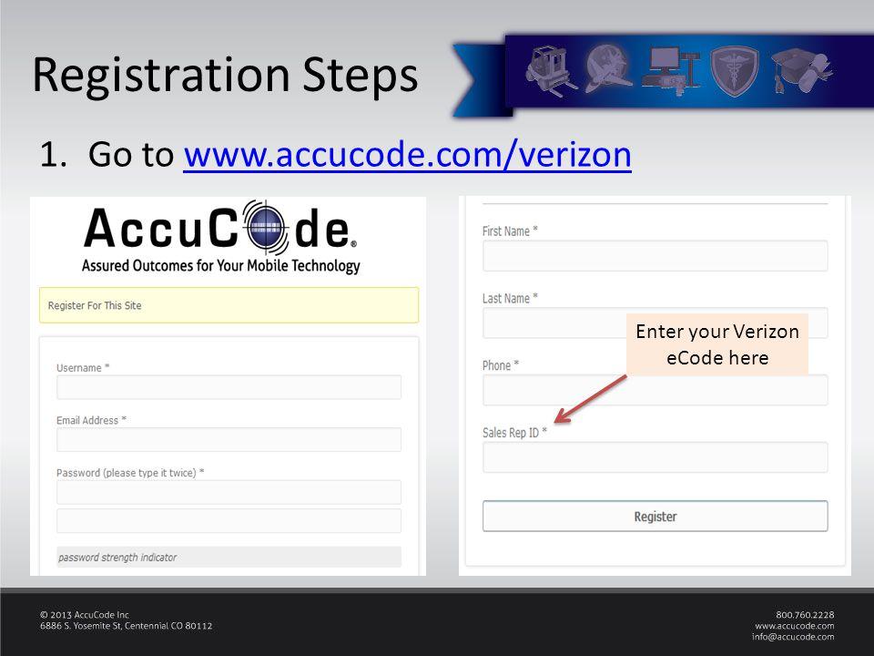 Registration Steps 1.Go to www.accucode.com/verizonwww.accucode.com/verizon Enter your Verizon eCode here