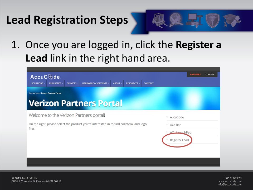 1.Once you are logged in, click the Register a Lead link in the right hand area.