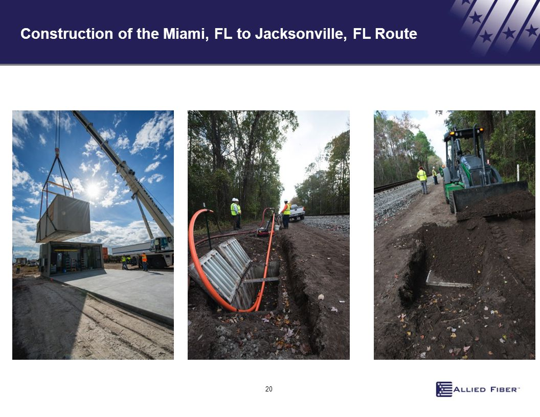 20 Construction of the Miami, FL to Jacksonville, FL Route