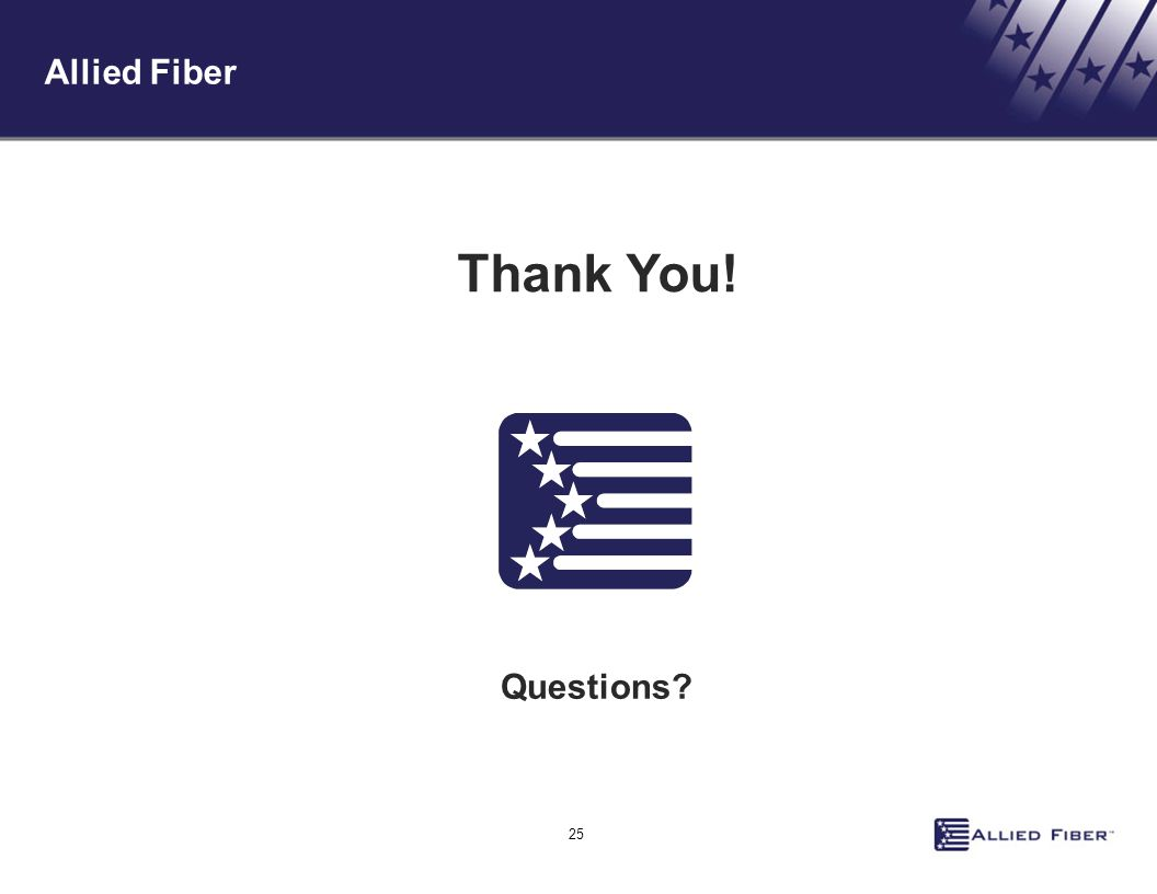 25 Allied Fiber Questions Thank You!