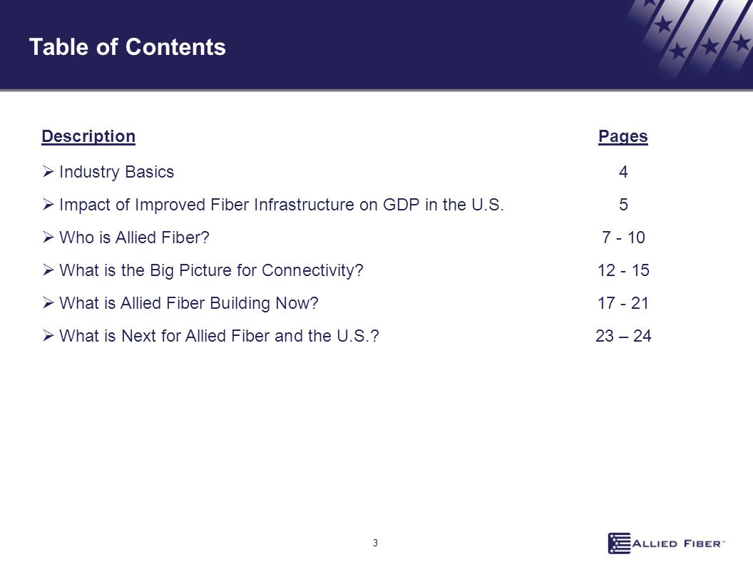 Table of Contents 3 DescriptionPages  Industry Basics4  Impact of Improved Fiber Infrastructure on GDP in the U.S. 5  Who is Allied Fiber?7 - 10 