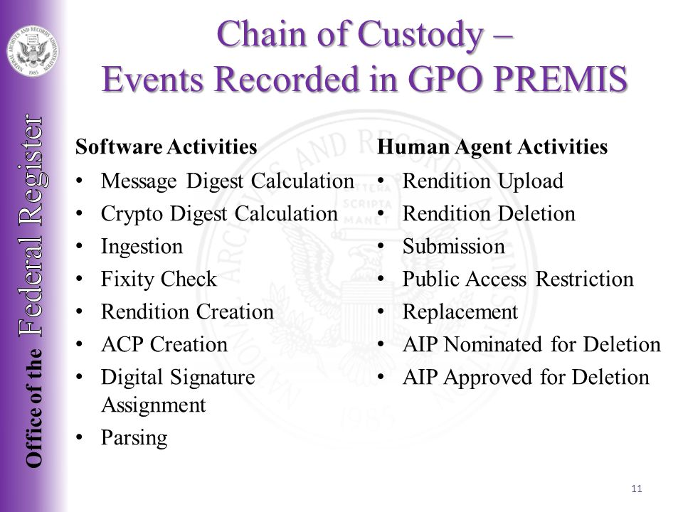 Chain of Custody – Events Recorded in GPO PREMIS Software Activities Human Agent Activities Message Digest Calculation Crypto Digest Calculation Ingestion Fixity Check Rendition Creation ACP Creation Digital Signature Assignment Parsing Rendition Upload Rendition Deletion Submission Public Access Restriction Replacement AIP Nominated for Deletion AIP Approved for Deletion 11