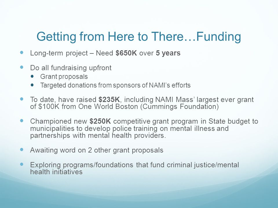 Getting from Here to There…Funding Long-term project – Need $650K over 5 years Do all fundraising upfront Grant proposals Targeted donations from sponsors of NAMI's efforts To date, have raised $235K, including NAMI Mass' largest ever grant of $100K from One World Boston (Cummings Foundation) Championed new $250K competitive grant program in State budget to municipalities to develop police training on mental illness and partnerships with mental health providers.