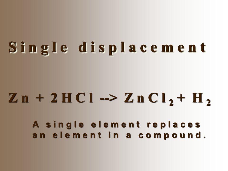 S i n g l e d i s p l a c e m e n t Z n + 2 H C l --> Z n C l 2 + H 2 A s i n g l e e l e m e n t r e p l a c e s a n e l e m e n t i n a c o m p o u
