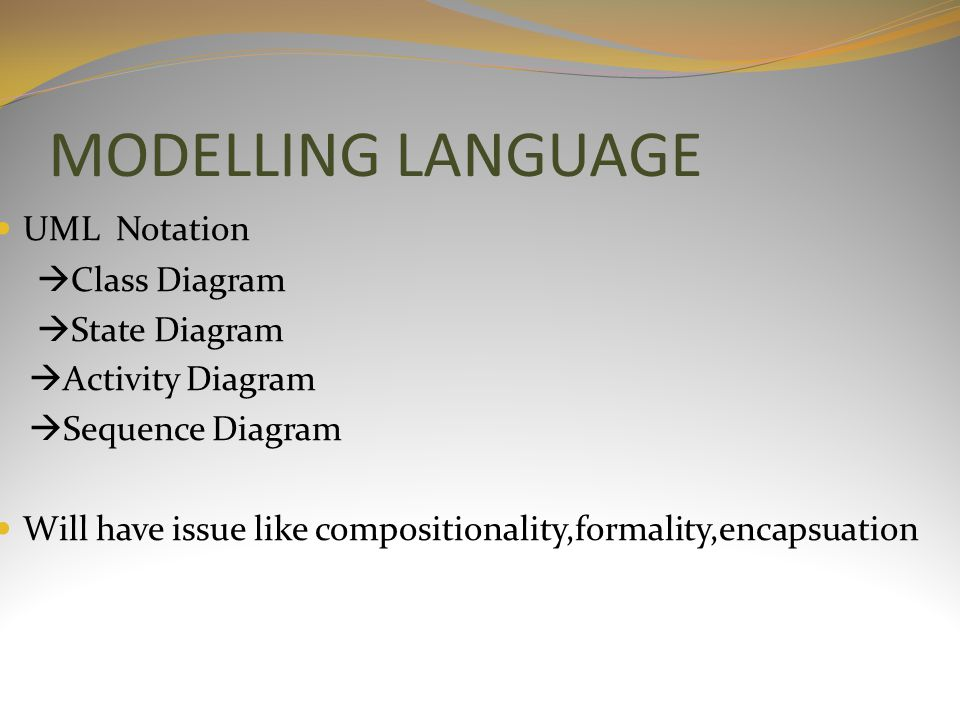 MODELLING LANGUAGE UML Notation  Class Diagram  State Diagram  Activity Diagram  Sequence Diagram Will have issue like compositionality,formality,