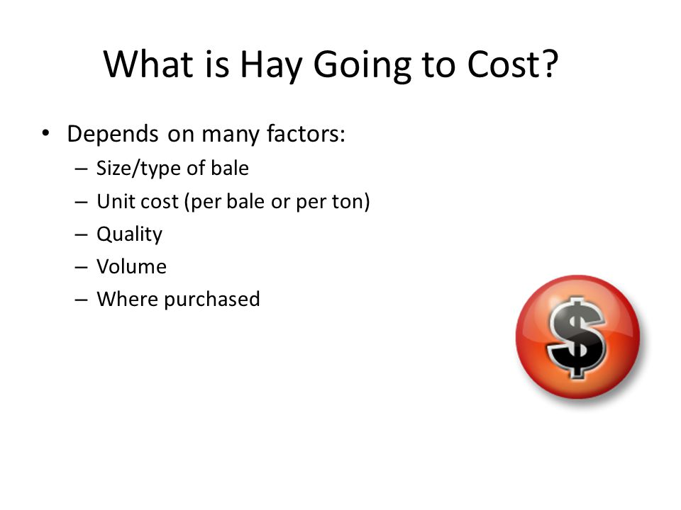What is Hay Going to Cost? Depends on many factors: – Size/type of bale – Unit cost (per bale or per ton) – Quality – Volume – Where purchased