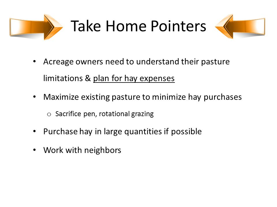 Take Home Pointers Acreage owners need to understand their pasture limitations & plan for hay expenses Maximize existing pasture to minimize hay purch