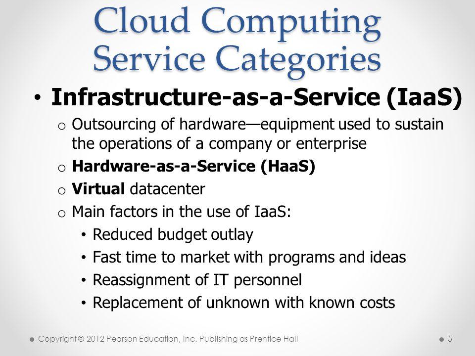 Cloud Computing Service Categories Copyright © 2012 Pearson Education, Inc.