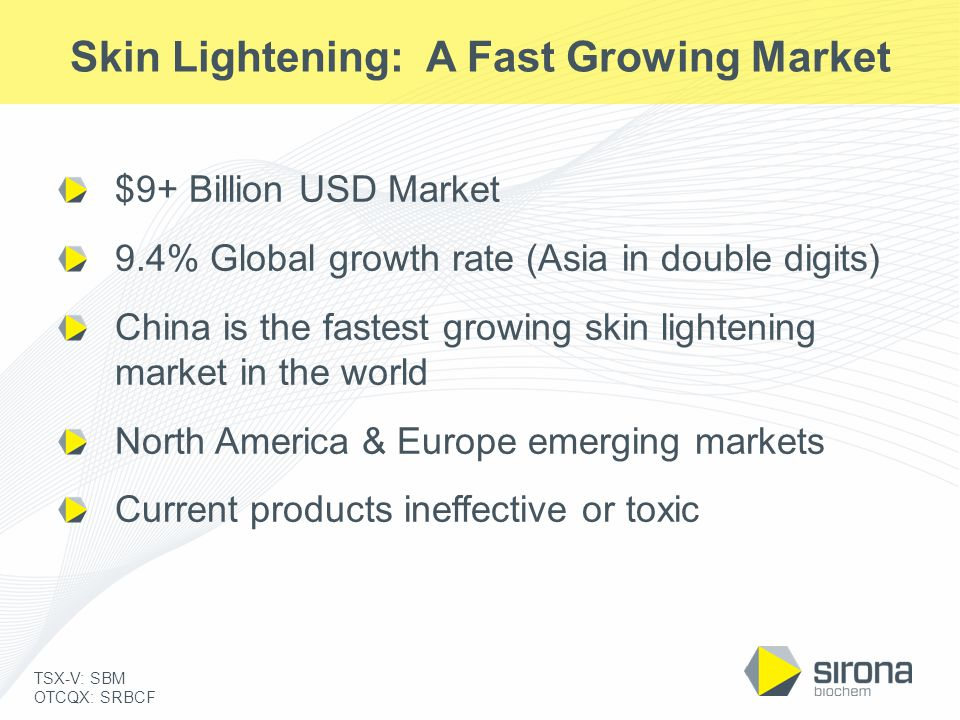 TSX-V: SBM OTCQX: SRBCF Skin Lightening: A Fast Growing Market $9+ Billion USD Market 9.4% Global growth rate (Asia in double digits) China is the fas