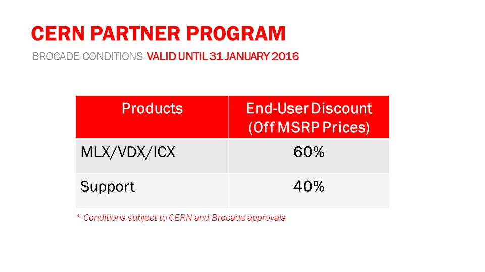 CERN PARTNER PROGRAM BROCADE CONDITIONS VALID UNTIL 31 JANUARY 2016 ProductsEnd-User Discount (Off MSRP Prices) MLX/VDX/ICX60% Support40% * Conditions subject to CERN and Brocade approvals