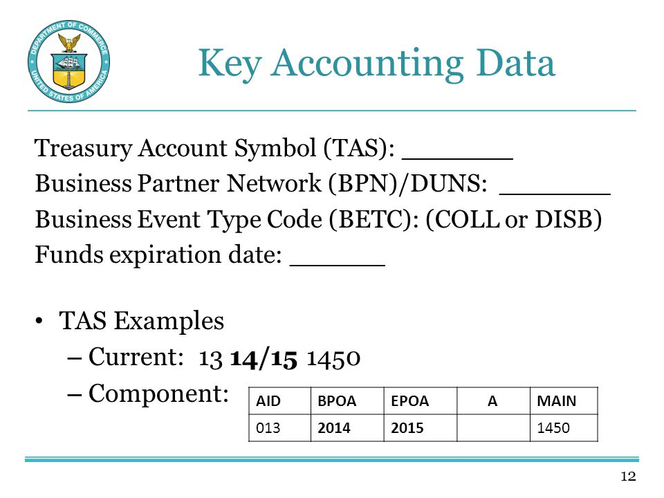 12 Key Accounting Data Treasury Account Symbol (TAS): _______ Business Partner Network (BPN)/DUNS: _______ Business Event Type Code (BETC): (COLL or DISB) Funds expiration date: ______ TAS Examples – Current: 13 14/15 1450 – Component: AIDBPOAEPOAAMAIN 013201420151450