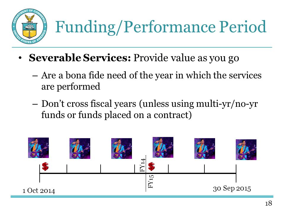 18 Funding/Performance Period Severable Services: Provide value as you go – Are a bona fide need of the year in which the services are performed – Don't cross fiscal years (unless using multi-yr/no-yr funds or funds placed on a contract) 1 Oct 2014 30 Sep 2015 FY14 FY15