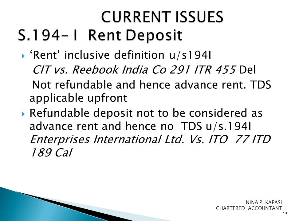  'Rent' inclusive definition u/s194I CIT vs.