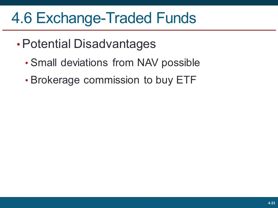 The McGraw-Hill Companies, © 2013 21 4-21 4.6 Exchange-Traded Funds Potential Disadvantages Small deviations from NAV possible Brokerage commission to buy ETF