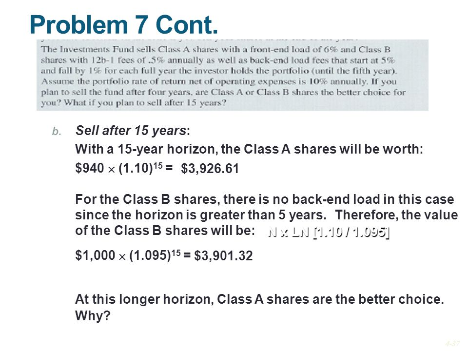 Problem 7 Cont. b. Sell after 15 years: With a 15-year horizon, the Class A shares will be worth: $940  (1.10) 15 = For the Class B shares, there is
