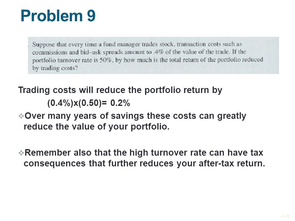 Problem 9 Trading costs will reduce the portfolio return by (0.4%)x(0.50)= 0.2%  Over many years of savings these costs can greatly reduce the value of your portfolio.