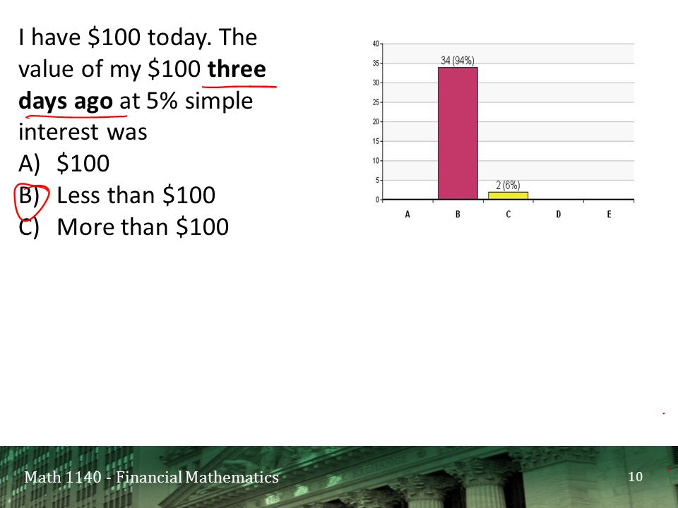 Math 1140 - Financial Mathematics I have $100 today.