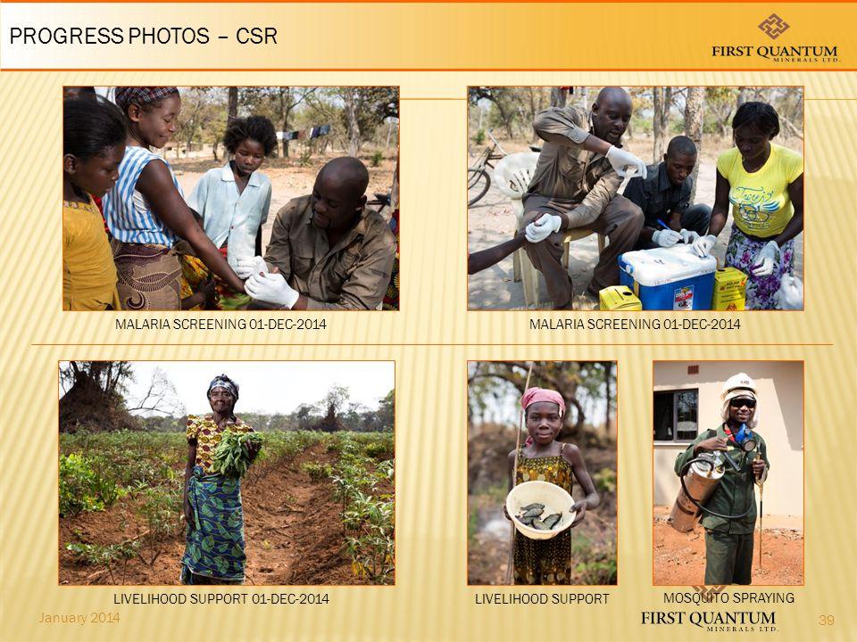 January 2014 LIVELIHOOD SUPPORT PROGRESS PHOTOS – CSR LIVELIHOOD SUPPORT 01-DEC-2014 MALARIA SCREENING 01-DEC-2014 39 MOSQUITO SPRAYING
