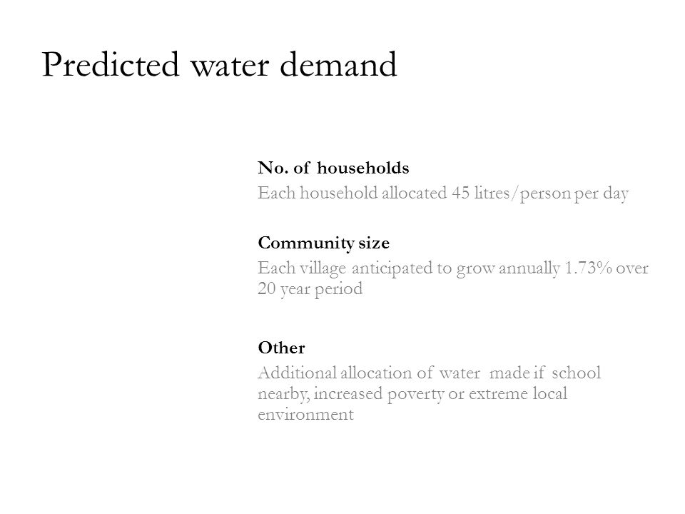 Predicted water demand No.