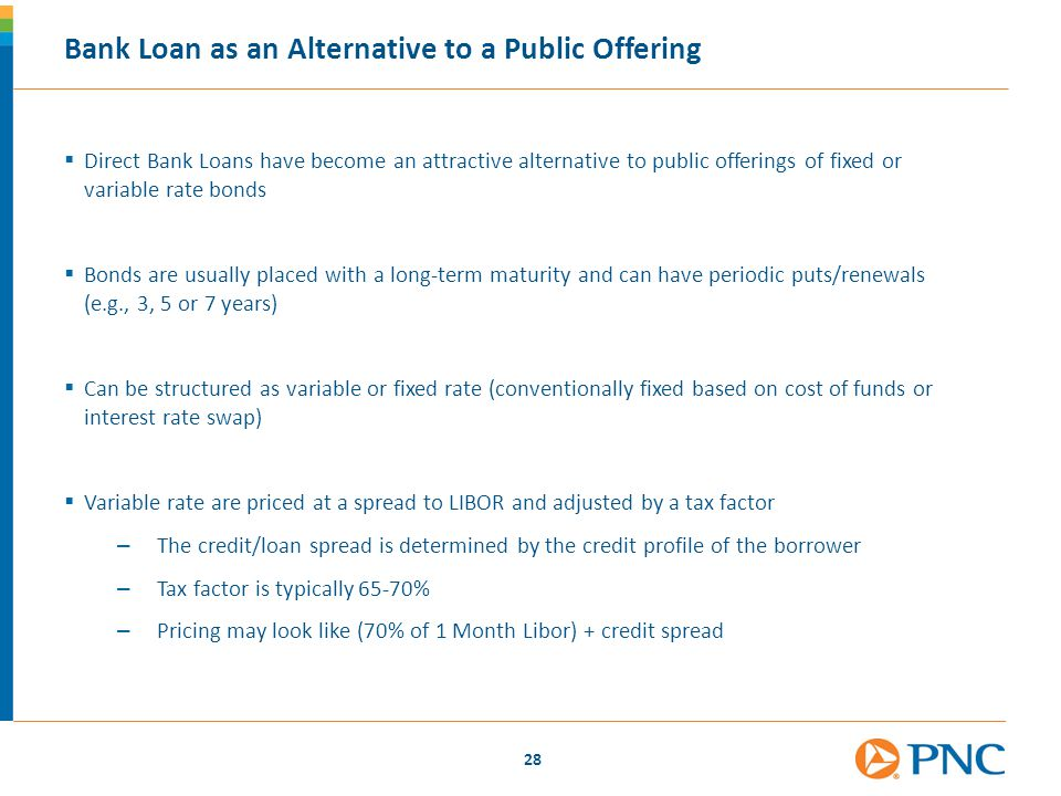 28 Bank Loan as an Alternative to a Public Offering  Direct Bank Loans have become an attractive alternative to public offerings of fixed or variable