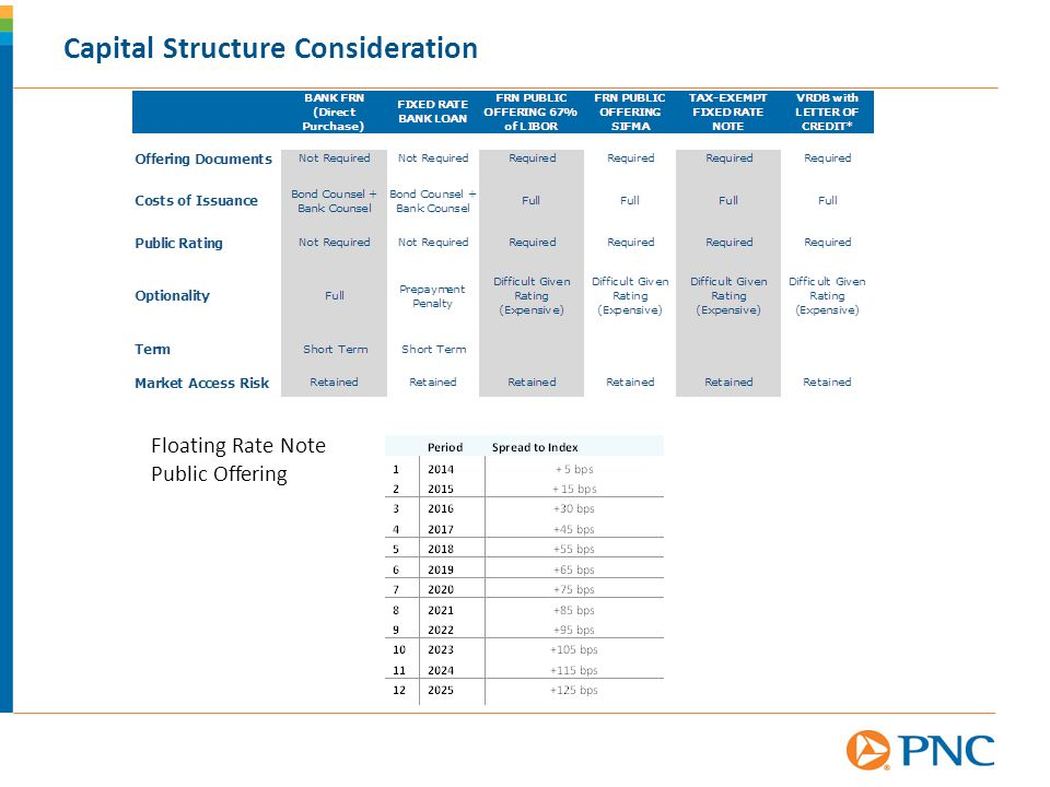 Capital Structure Consideration Floating Rate Note Public Offering