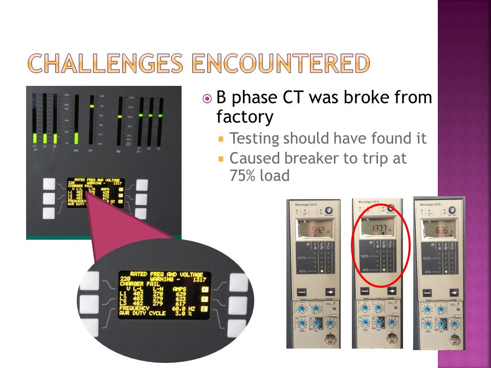  B phase CT was broke from factory  Testing should have found it  Caused breaker to trip at 75% load