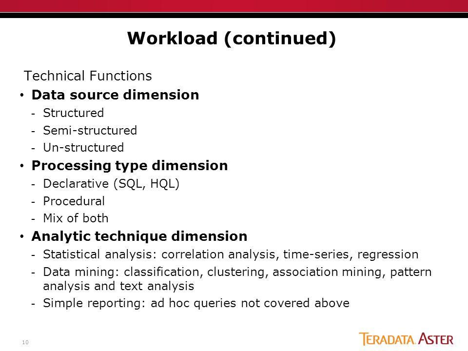 10 Technical Functions Data source dimension -Structured -Semi-structured -Un-structured Processing type dimension -Declarative (SQL, HQL) -Procedural