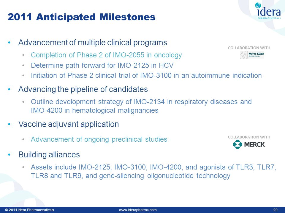 © 2011 Idera Pharmaceuticalswww.iderapharma.com 20 2011 Anticipated Milestones Advancement of multiple clinical programs Completion of Phase 2 of IMO-2055 in oncology Determine path forward for IMO-2125 in HCV Initiation of Phase 2 clinical trial of IMO-3100 in an autoimmune indication Advancing the pipeline of candidates Outline development strategy of IMO-2134 in respiratory diseases and IMO-4200 in hematological malignancies Vaccine adjuvant application Advancement of ongoing preclinical studies Building alliances Assets include IMO-2125, IMO-3100, IMO-4200, and agonists of TLR3, TLR7, TLR8 and TLR9, and gene-silencing oligonucleotide technology COLLABORATION WITH