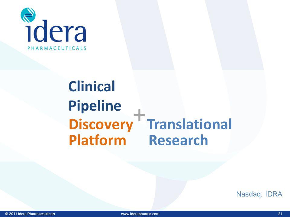 © 2011 Idera Pharmaceuticalswww.iderapharma.com 21 © 2011 Idera Pharmaceuticalswww.iderapharma.com 21 Clinical Pipeline Discovery Platform + Nasdaq: IDRA Translational Research