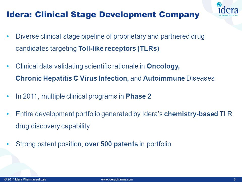 © 2011 Idera Pharmaceuticalswww.iderapharma.com 3 Idera: Clinical Stage Development Company Diverse clinical-stage pipeline of proprietary and partnered drug candidates targeting Toll-like receptors (TLRs) Clinical data validating scientific rationale in Oncology, Chronic Hepatitis C Virus Infection, and Autoimmune Diseases In 2011, multiple clinical programs in Phase 2 Entire development portfolio generated by Idera's chemistry-based TLR drug discovery capability Strong patent position, over 500 patents in portfolio