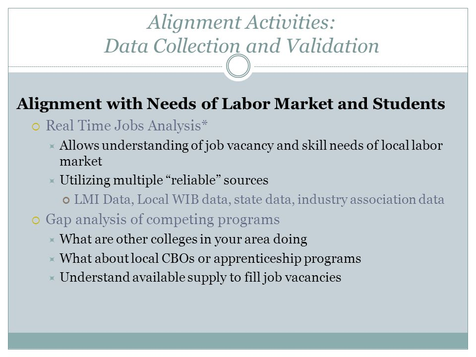 Alignment Activities: Data Collection and Validation Alignment with Needs of Labor Market and Students  Real Time Jobs Analysis*  Allows understanding of job vacancy and skill needs of local labor market  Utilizing multiple reliable sources LMI Data, Local WIB data, state data, industry association data  Gap analysis of competing programs  What are other colleges in your area doing  What about local CBOs or apprenticeship programs  Understand available supply to fill job vacancies