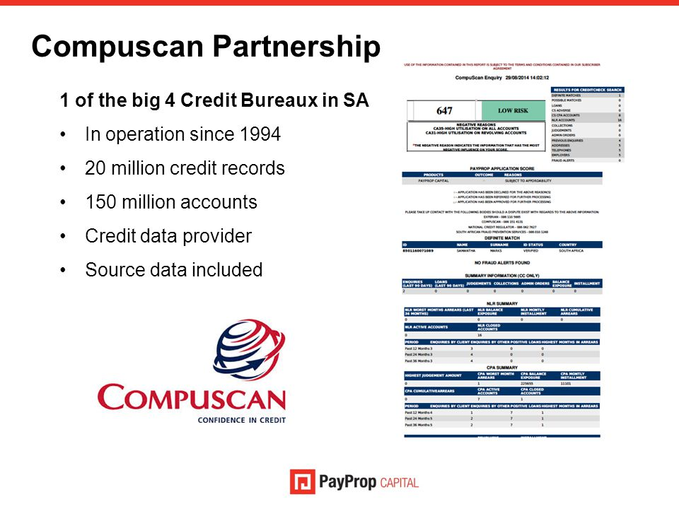 Compuscan Partnership 1 of the big 4 Credit Bureaux in SA In operation since 1994 20 million credit records 150 million accounts Credit data provider