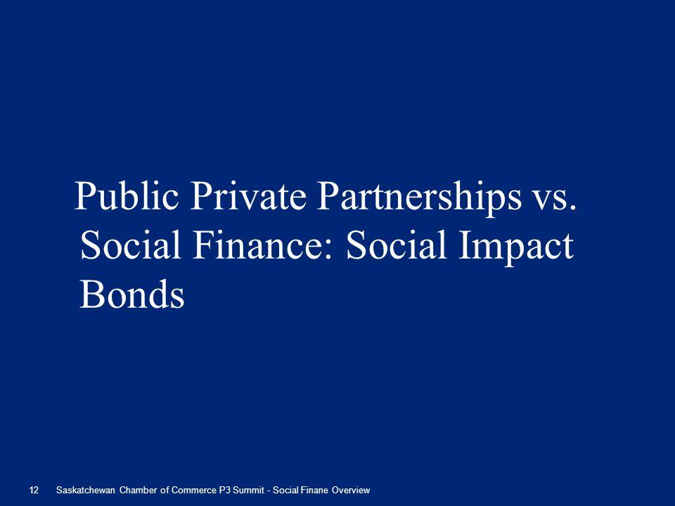 Public Private Partnerships vs. Social Finance: Social Impact Bonds 12Saskatchewan Chamber of Commerce P3 Summit - Social Finane Overview
