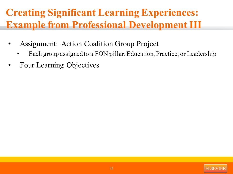 Creating Significant Learning Experiences: Example from Professional Development III Assignment: Action Coalition Group Project Each group assigned to a FON pillar: Education, Practice, or Leadership Four Learning Objectives 12