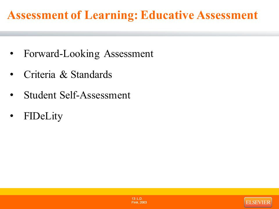 Assessment of Learning: Educative Assessment Forward-Looking Assessment Criteria & Standards Student Self-Assessment FIDeLity 13: L.D.