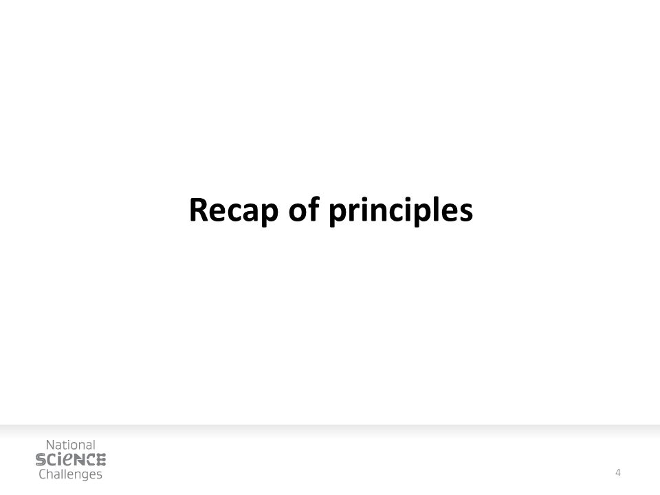 Recap of principles 4