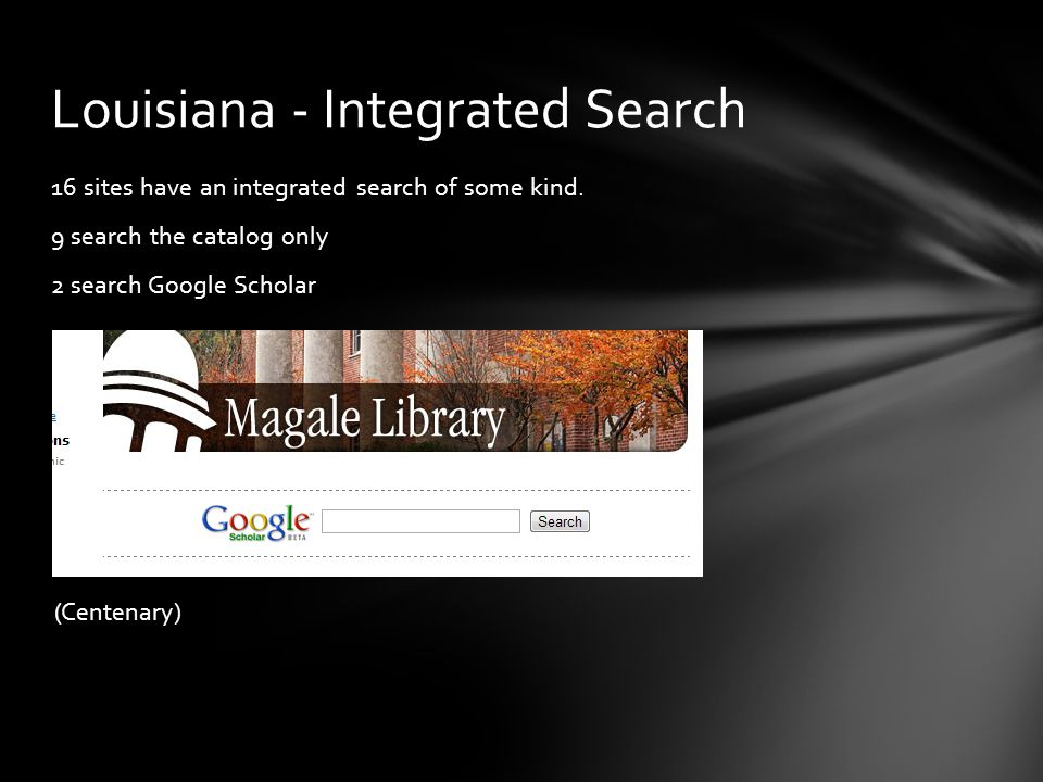 16 sites have an integrated search of some kind.
