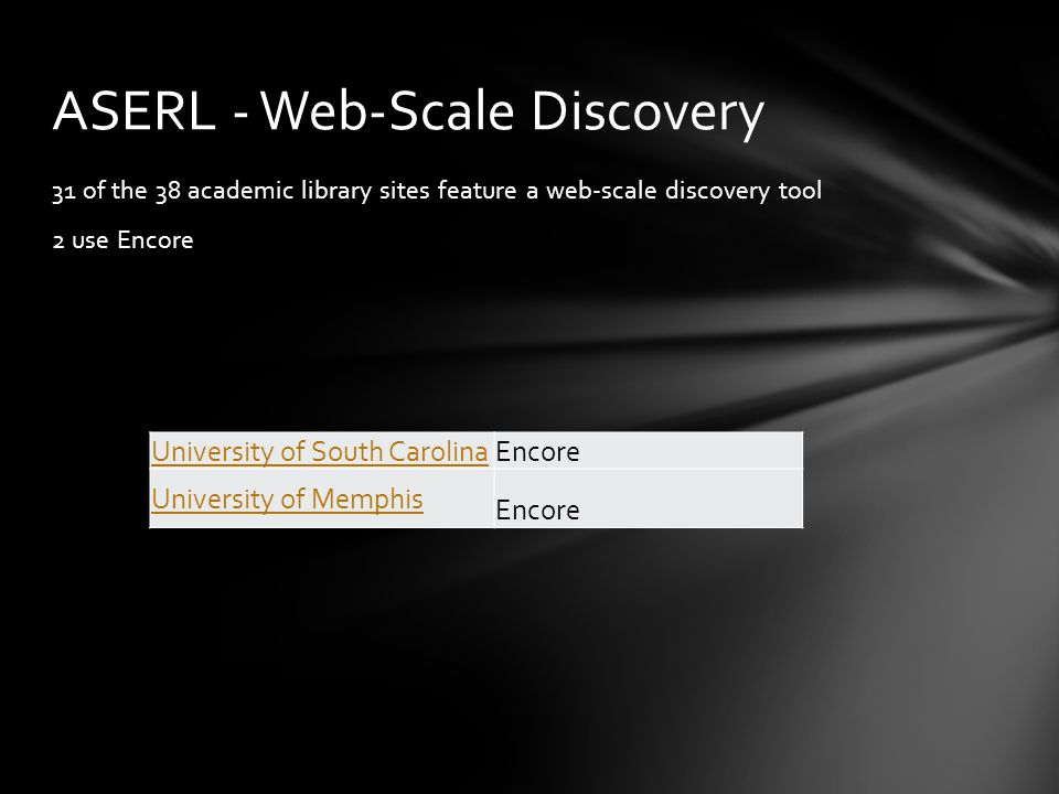 31 of the 38 academic library sites feature a web-scale discovery tool 2 use Encore ASERL - Web-Scale Discovery University of South Carolina Encore University of Memphis Encore