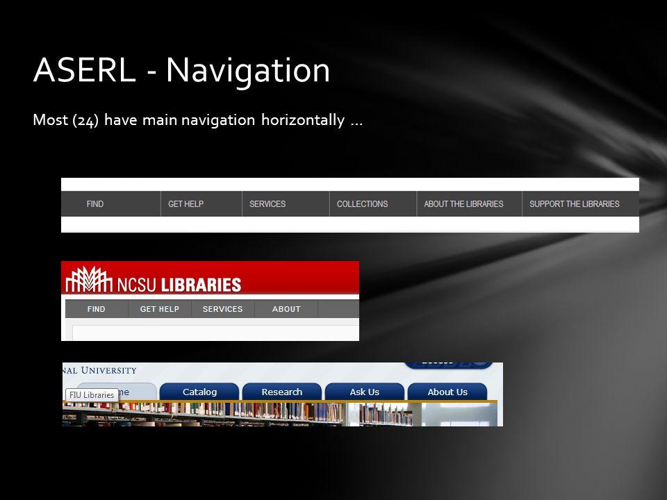 Most (24) have main navigation horizontally … ASERL - Navigation