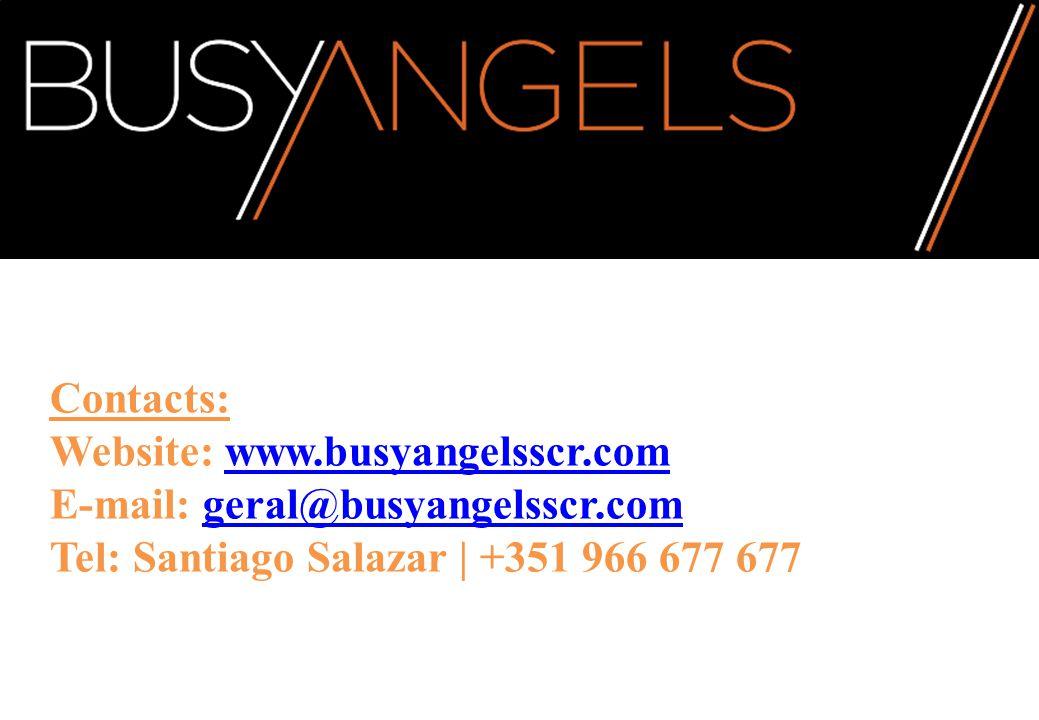 Contacts: Website: www.busyangelsscr.com E-mail: geral@busyangelsscr.com Tel: Santiago Salazar | +351 966 677 677www.busyangelsscr.comgeral@busyangelsscr.com