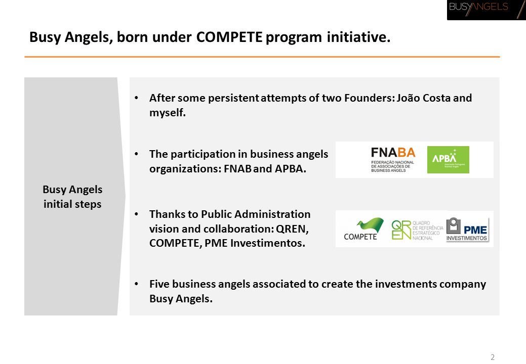 Busy Angels, born under COMPETE program initiative.