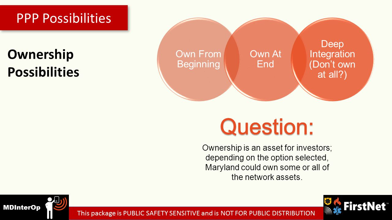 PPP Possibilities Ownership Possibilities Own From Beginning Own At End Deep Integration (Don't own at all ) Ownership is an asset for investors; depending on the option selected, Maryland could own some or all of the network assets.