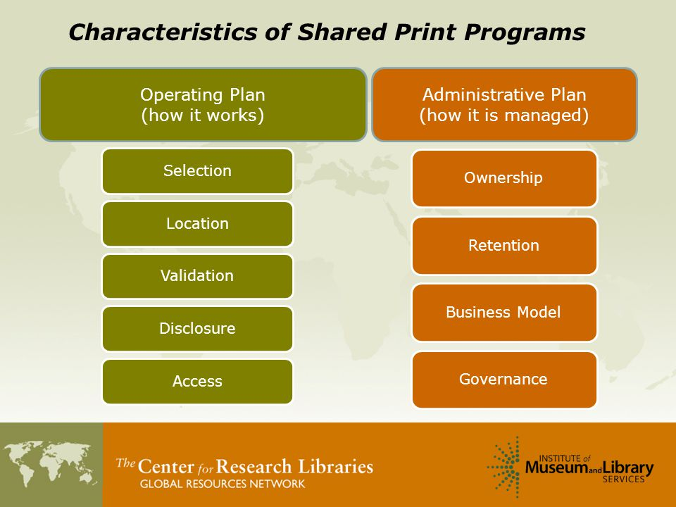 Operating Plan (how it works) Administrative Plan (how it is managed) Characteristics of Shared Print Programs SelectionLocationValidationDisclosureAccess OwnershipRetentionBusiness ModelGovernance