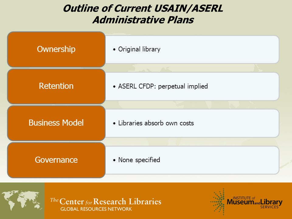 Outline of Current USAIN/ASERL Administrative Plans Original library Ownership ASERL CFDP: perpetual implied Retention Libraries absorb own costs Business Model None specified Governance