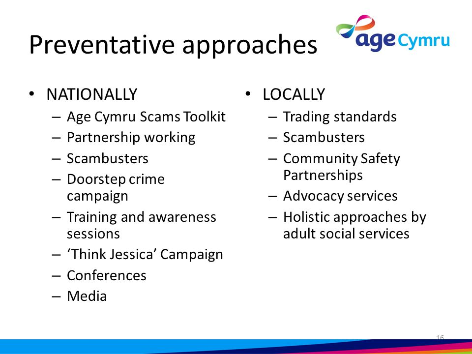 Scams and dementia project 2 year Comic Relief funded project Partnership with the Alzheimer's Society 2 volunteer co-ordinators Trained volunteers and advocates Awareness raising workshop sessions 6 areas across Wales 17