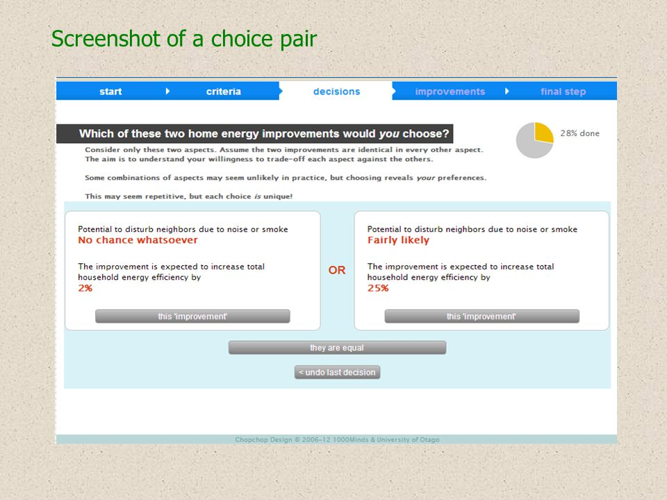 Screenshot of a choice pair