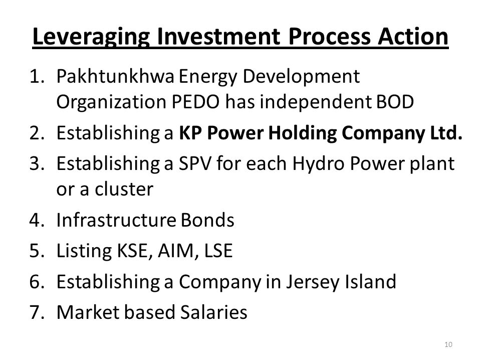 Leveraging Investment Process Action 1.Pakhtunkhwa Energy Development Organization PEDO has independent BOD 2.Establishing a KP Power Holding Company Ltd.