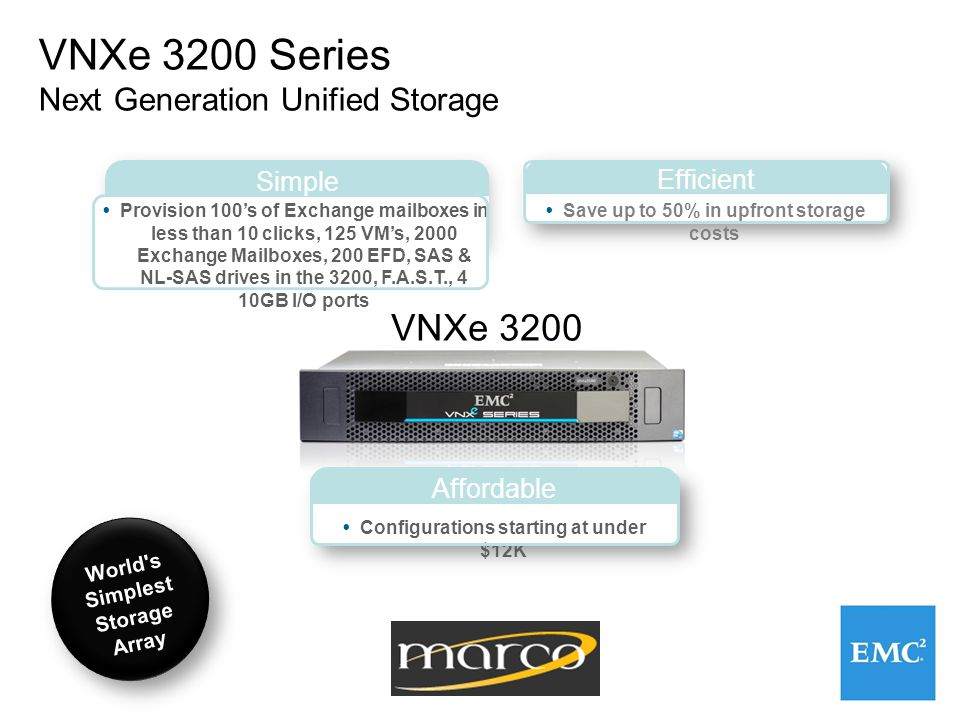 VNXe 3200 Series Next Generation Unified Storage  Provision 100's of Exchange mailboxes in less than 10 clicks, 125 VM's, 2000 Exchange Mailboxes, 200 EFD, SAS & NL-SAS drives in the 3200, F.A.S.T., 4 10GB I/O ports  Save up to 50% in upfront storage costs Simple Efficient  Configurations starting at under $12K Affordable World s Simplest Storage Array VNXe 3200